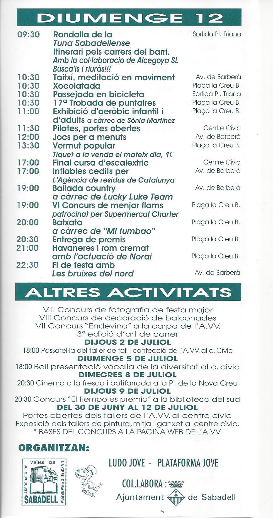Programa festa major 2